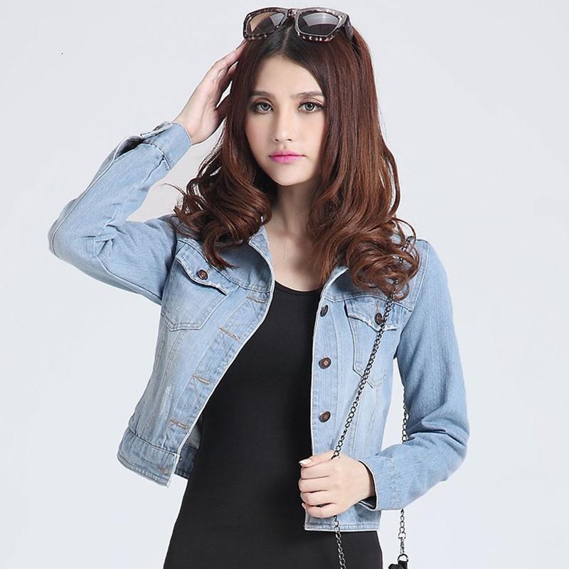 Kadınların Dış Giyim bayanlar Palto V191025 için Kadın ceketler mont 2019 Bahar moda kot ceketler Denim Kadınlar ince pamuklu katı Ceket