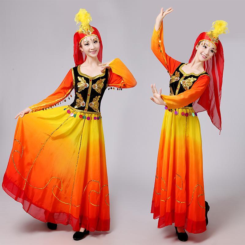 Yetişkin Sincan Etnik Azınlık Dans Etek göster Uygur'un Etnik Grup aşaması Giyim Suit-elbise