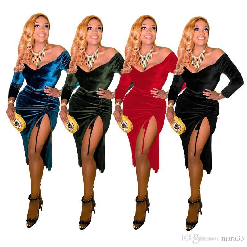 Mulheres de veludo sólidos mini vestidos sexy club elegante alta divisão queda plain roupas de verão barra pescoço off partido ombro vestidos de noite 2329