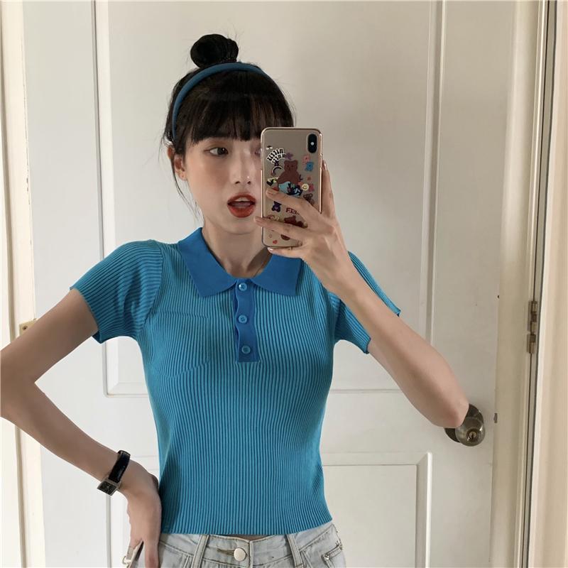 Mulheres T-shirt Casual Verão camiseta manga curta de Slim malha Top Roupas Femininas