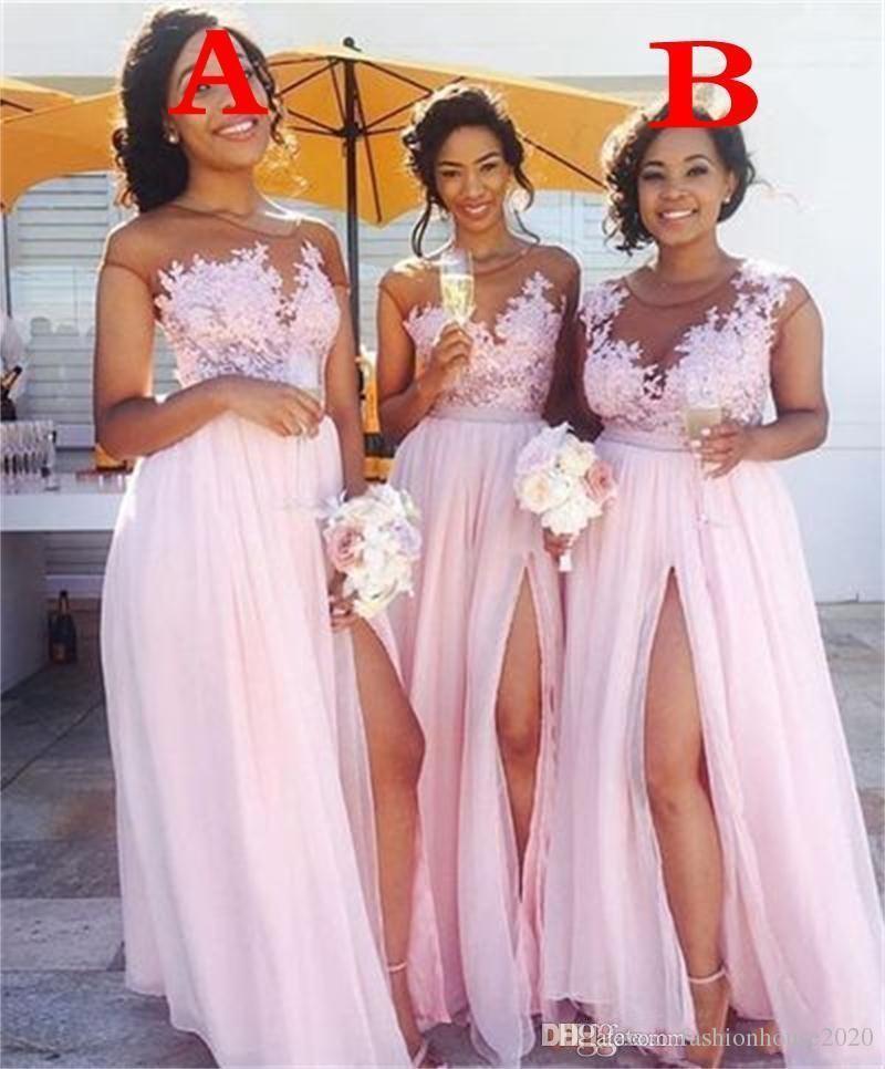 Ucuz Sıcak Pembe Gelinlik Modelleri Sheer Boyun Dantel Aplikler Kat Uzunluk Yüksek Bölünmüş Düğün Hizmetleri için Onur Kadınlar Balo Abiye