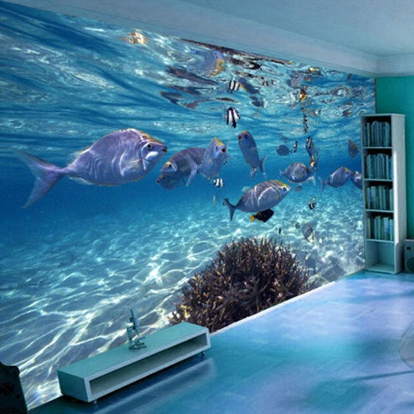 3D 배경 화면 만화 크리 에이 티브 해저 세계 해양 생물 벽화 어린이 침실 수족관 거실 배경막 벽 종이 홈 인테리어