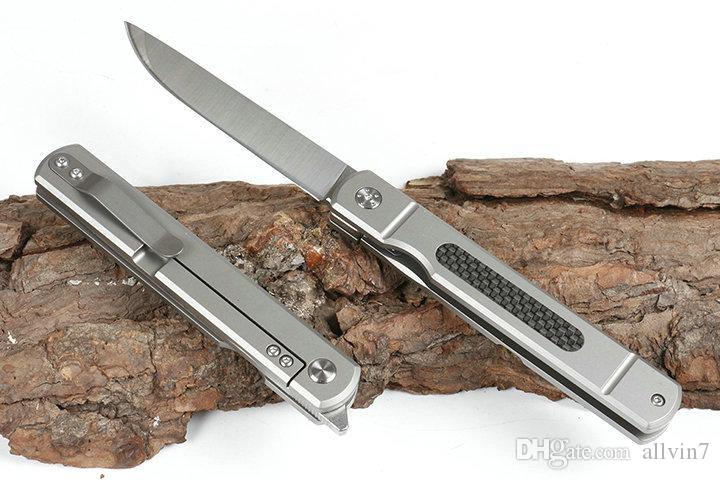 Punto de la gota cojinete de bolas cuchillo plegable de la aleta D2 satén de la hoja de fibra de carbono + TC4 aleación de titanio de la manija con el bolso de nylon