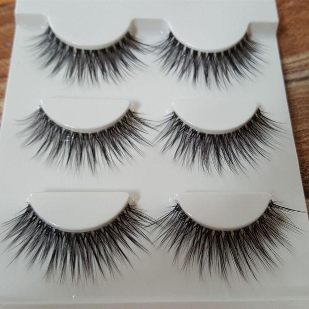 Neue 3 Paare Wimpern Make-up Handgemachte dicke gefälschte Kreuz Falsche Wimpern Kosmetisches Werkzeug