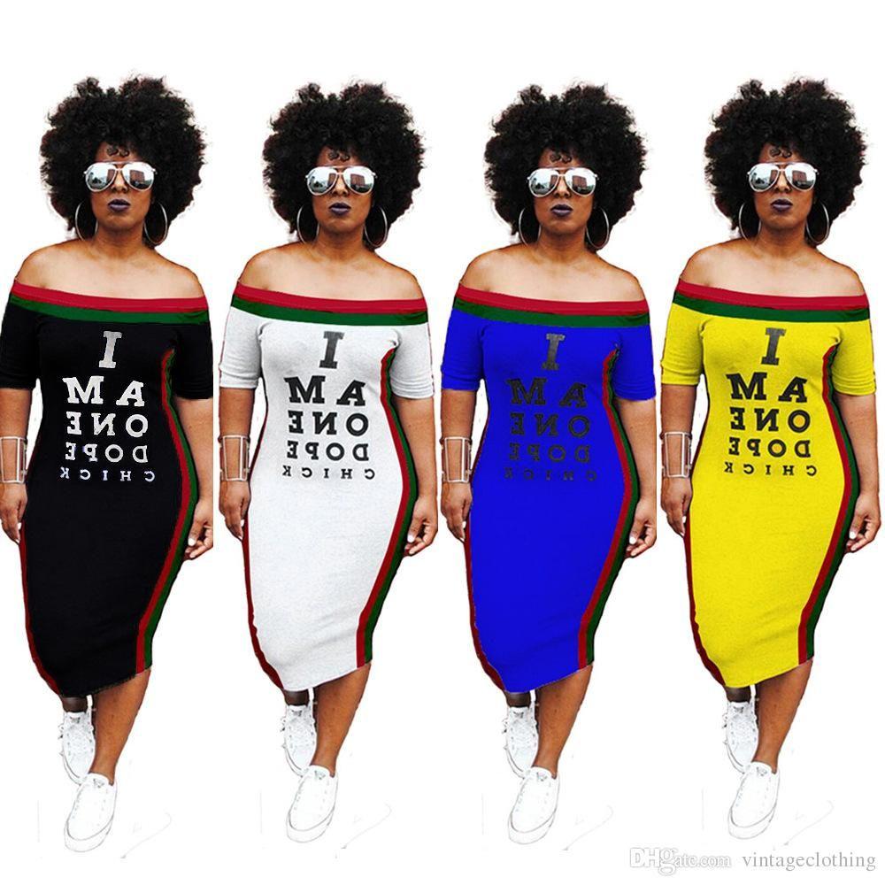 Yaz Kadınlar Seksi Kısa Kollu Slim Fit Elbise Boyun Harf Baskılı Casual Party Club Elbise Slash