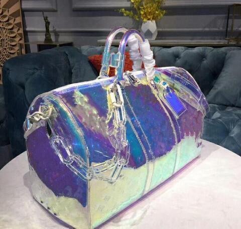 Klasik lüks Lazer flaş PVC tasarımcı çantaları 50 cm şeffaf silindir çanta parlak renk Bagaj seyahat çantası Crossbody omuz Han0d5c#
