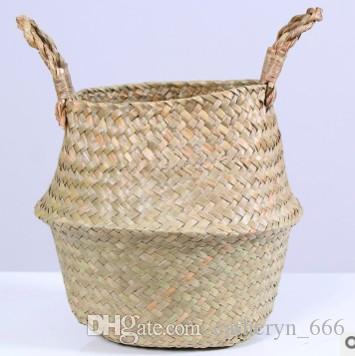 Pieghevole Seagrass Basket Classici Cesti di stoccaggio Tessuti a Mano Fiore Vaso per Piante Lavanderia Organizzatore Home Garden Decor Natural Color