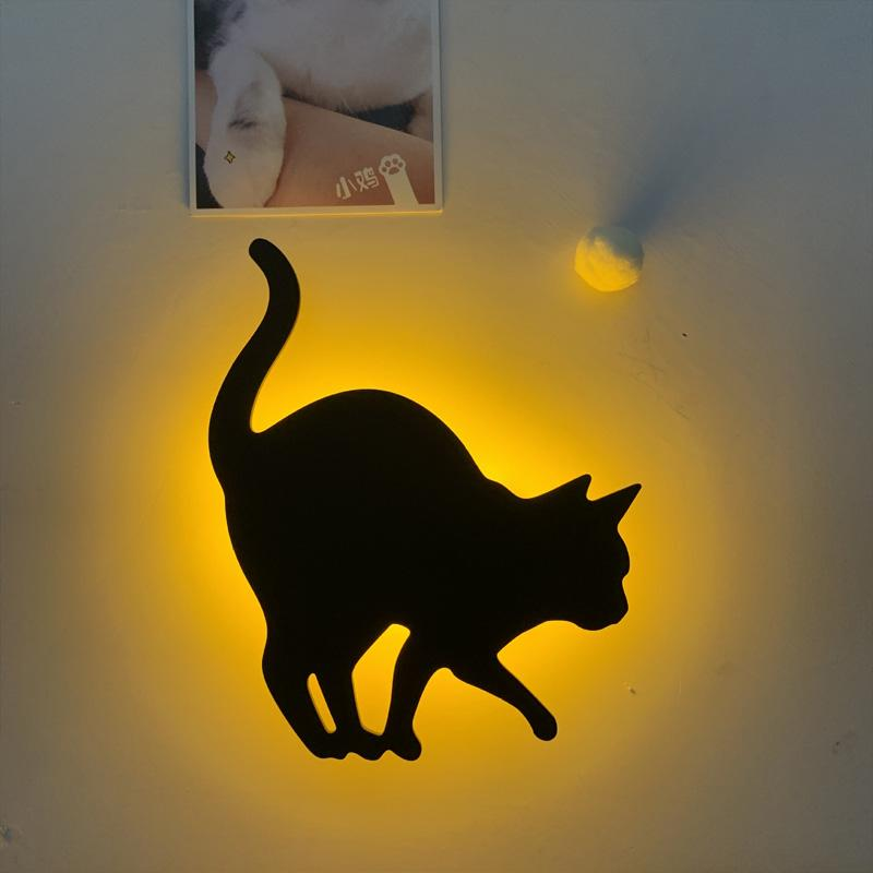 BRELONG 3D cat mode projection lamp led light wall paste silhouette sensor night light 1 pc