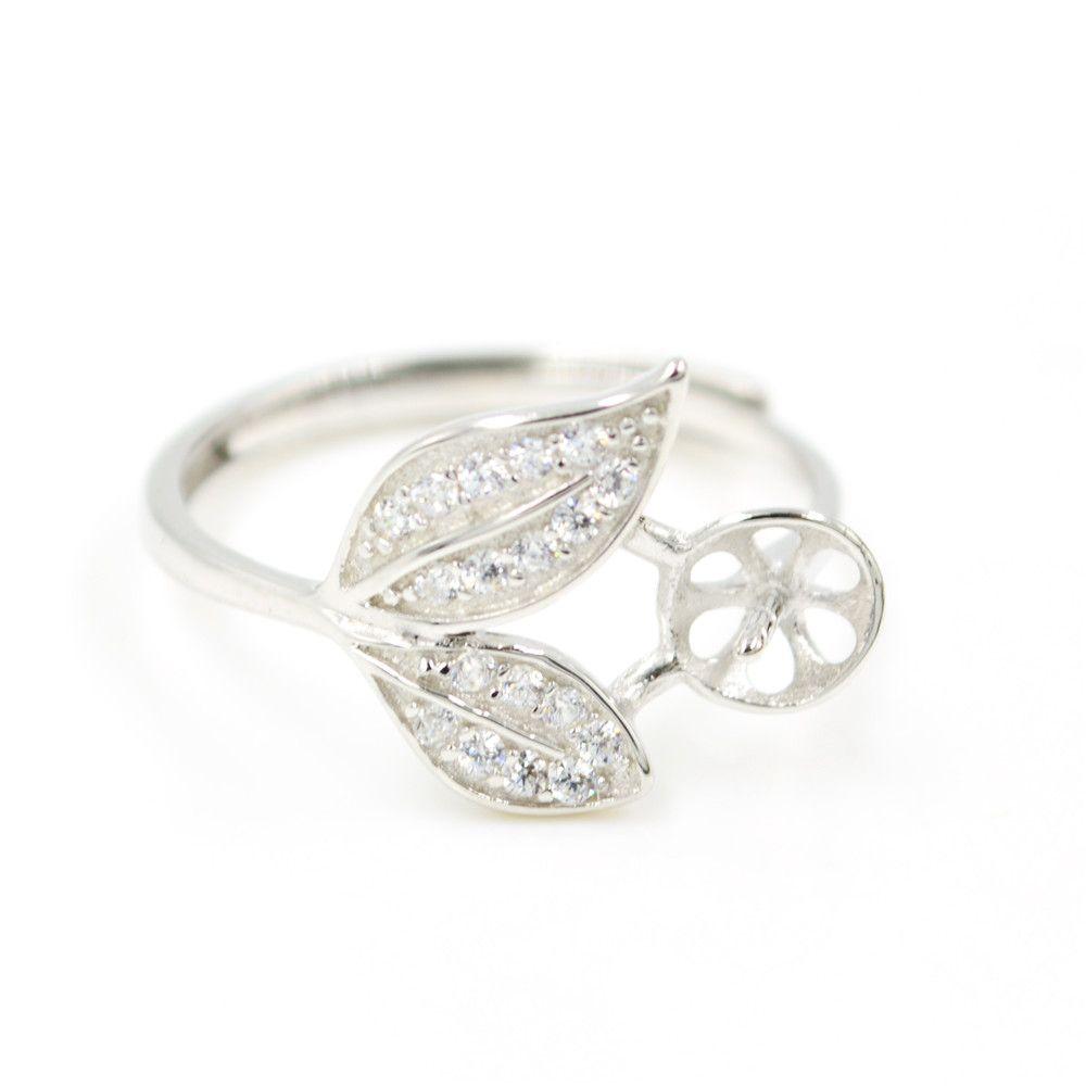 Comércio por grosso S925 anel de prata Libra Esterlina montagem de anéis em forma de bilobato para mulheres jóias de pérola comércio livre anel de abertura ajustável