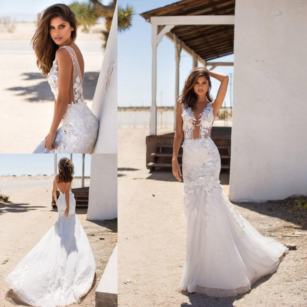 Milla Nova 2020 New Mermaid Lace Wedding Dresses Sheer Plunging Neck Open Back Floor Length Bridal Gowns Custom Made