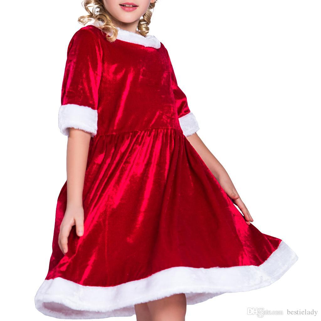 يذكر سانتا كلوز نصف كم الأحمر سوينغ اللباس وقبعة عيد الميلاد مجموعة الأطفال ملابس الزي للبنات المخملية فضفاض عيد الميلاد الملابس S M L