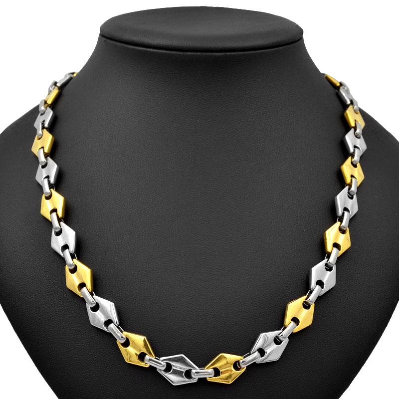 SUNNERLEES Fashion Jewelry Stainless Steel Necklace 11mm Geometric Link Chain Silver Gold Color Men Women Gift SC135 N