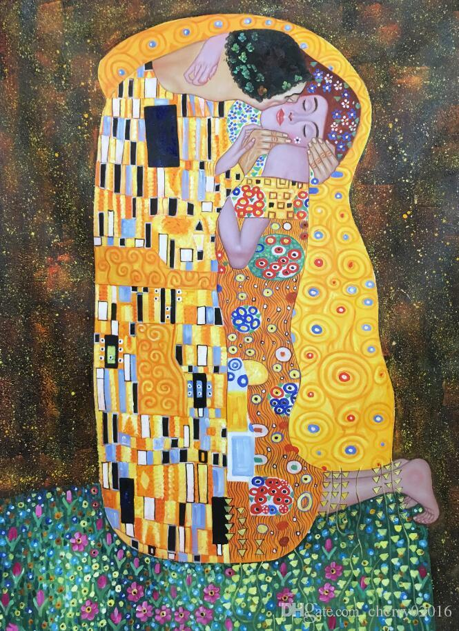 gustav klimt the kiss oil painting on Canvas Beauty woman modern artwork for wall decor Christmas Gift Hand painted Colorful modern picture