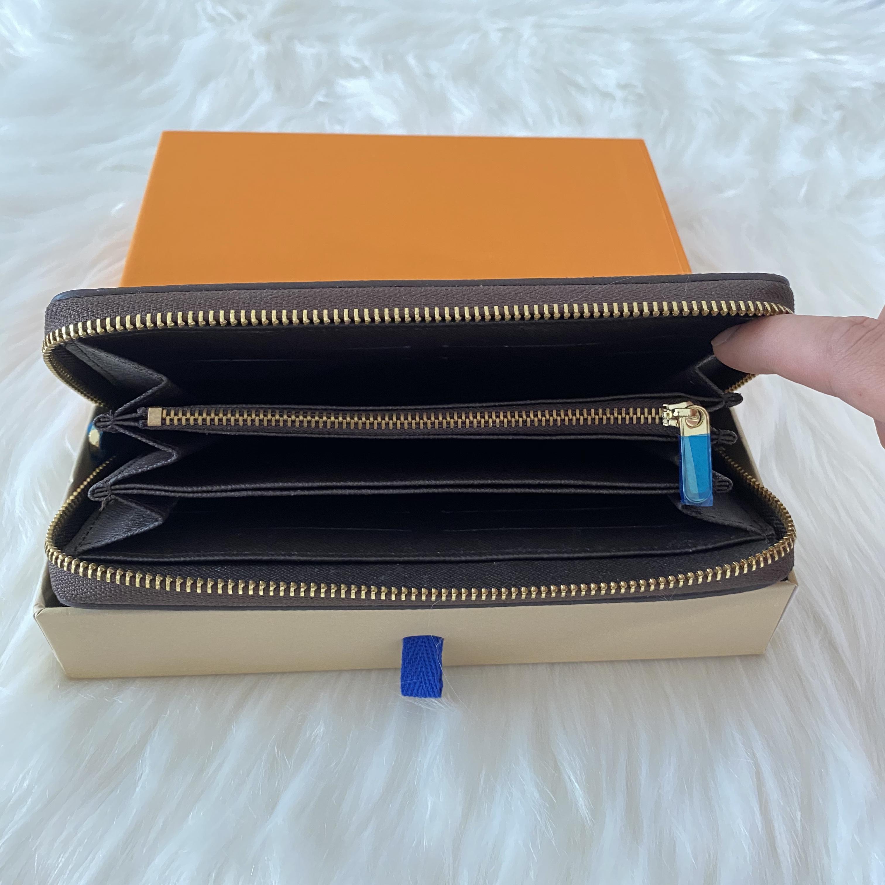 شحن مجاني بالجملة براون طويل محفظة متعدد الألوان عملة محفظة حامل البطاقة مربع الأصلي رجل الكلاسيكية سستة الجيب المسلسل المحافظ