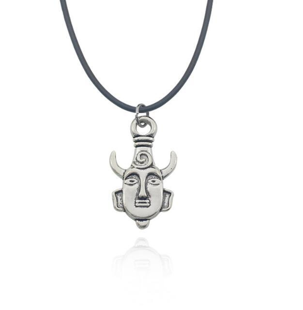 Anime Movie Supernatural Horned Mask People Buddha Head Necklaces Dean horn Amulet Pendant Choker Statement Necklace Friendship Gift