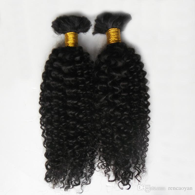 Trança de cabelo trança humana 2 Pcs brasileiro trança de cabelo a granel sem trama 200G brasileira kinky curly hair bulk