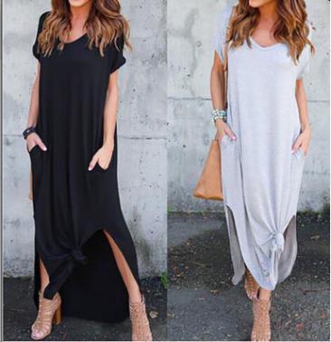 Floja holgada túnica del vestido de las mujeres grandes bolsillos sólidos más el tamaño de vestidos maxi largo de vacaciones Mujeres