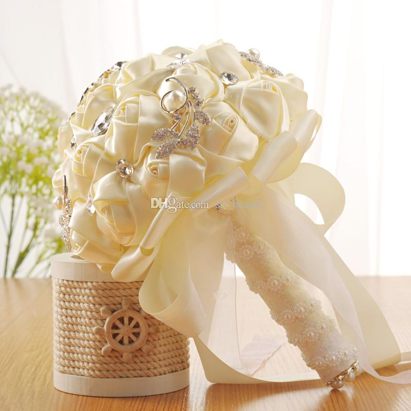 Artificial Satin Roses Wedding Bridal Bouquet Rhinestones Bride Flowers Wedding Bouquet Beige Silk Ribbon Buque De Noiva
