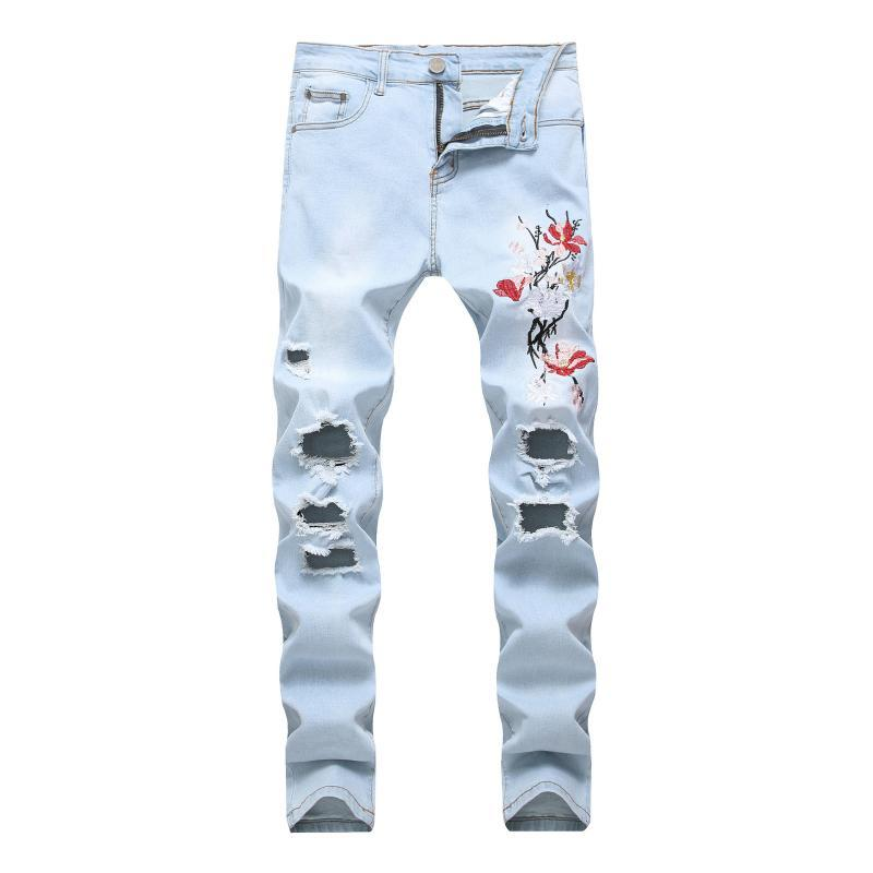 Special Men Embroidery Hole Light Color Elastic Force Jeans Slim Fit Big Code Men's Wear Trousers 1866