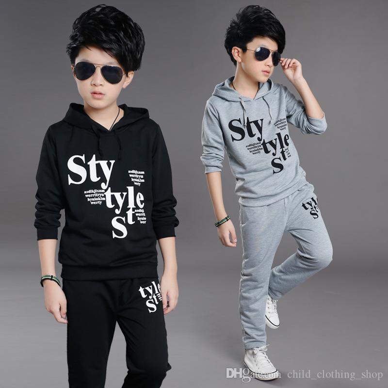 Children's clothing boy hip hop street dance set Spring and autumn new Korean children's letter hooded big boy long sleeve sports two-piece