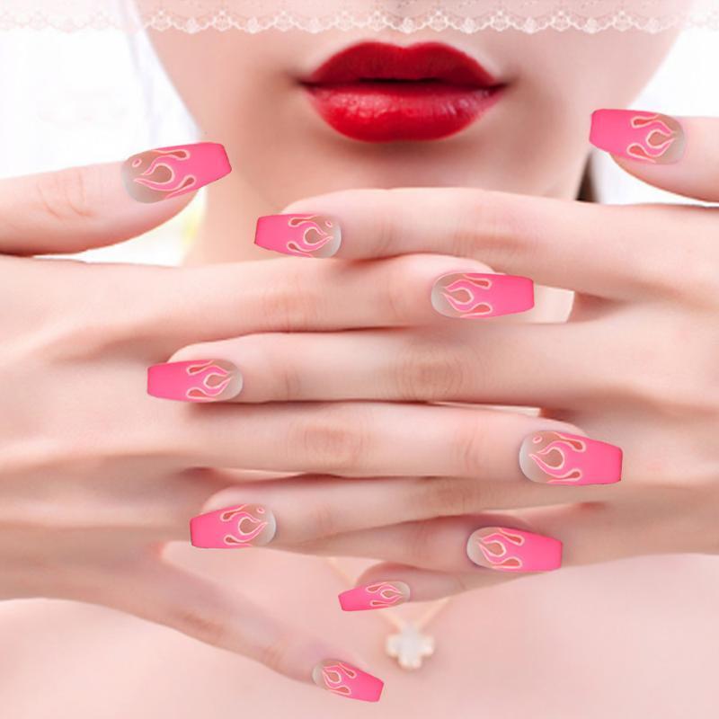 New Flame Moda Padrão Falso Nails Nail Art Palette etiqueta do prego acrílico Acessórios Pedaço 10pcs