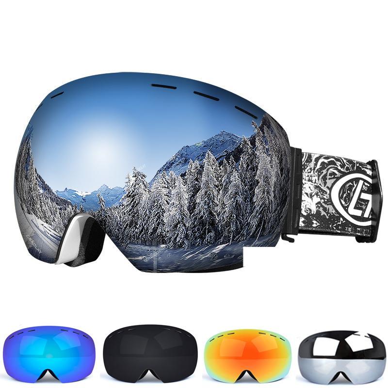 الطبقات تزلج نظارات مزدوجة للأشعة فوق البنفسجية المضادة للضباب كبيرة للتزلج قناع نظارات التزلج على الثلج على الجليد نظارات الرجال النساء نظارات