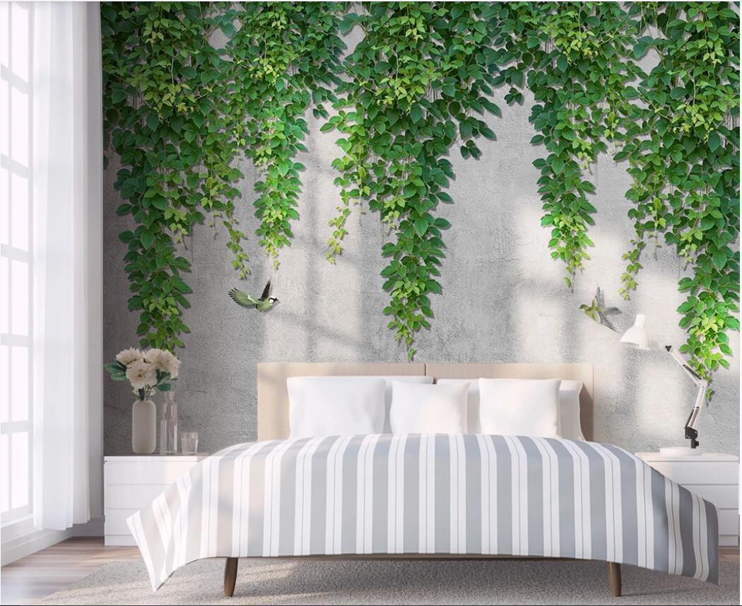 3D 배경 화면 사용자 정의 사진 벽화 북유럽 간단한 포도 나무 잎 조류 침실 배경 벽 장식 벽 예술 사진