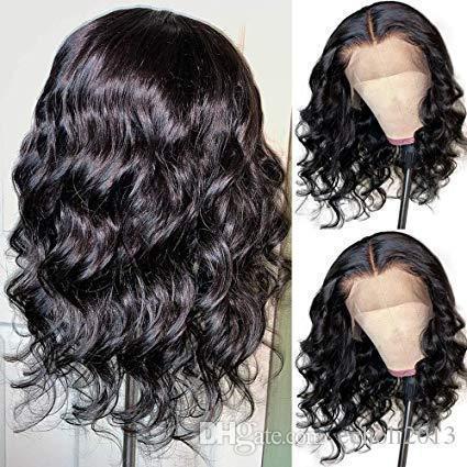 흑인 여성의 16 인치 블랙 물결 모양의 가발 짧은 밥 레이스 프런트 가발 글루리스 (glueless) 자연 웨이브 인간의 머리가 발 150 % 밀도