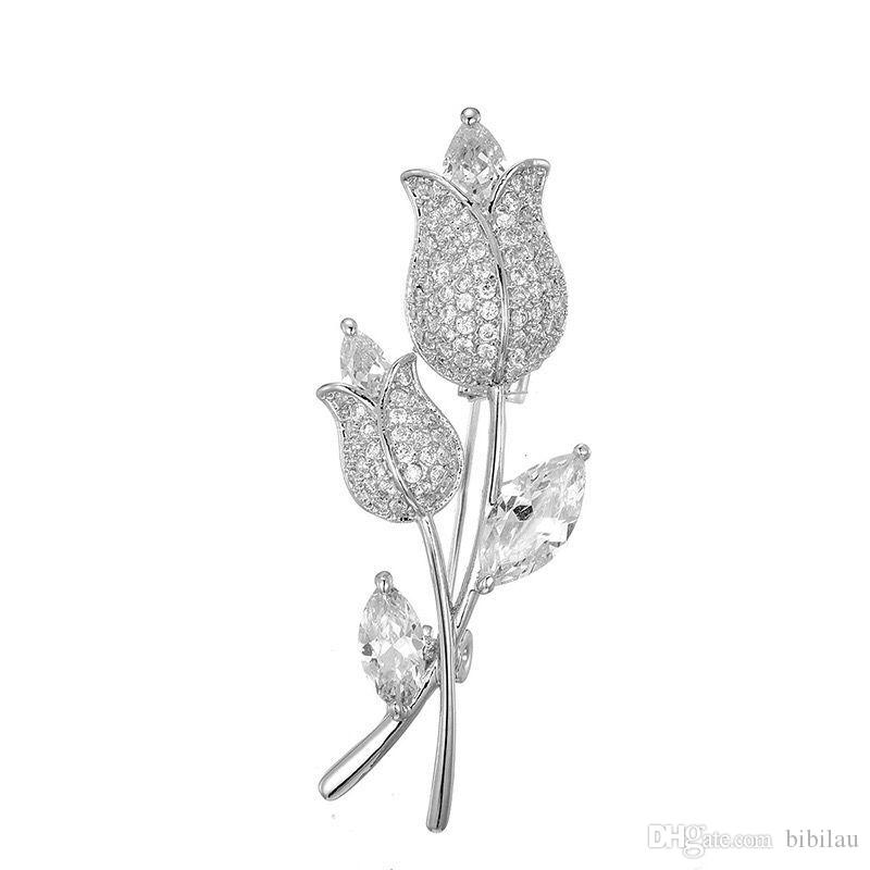 MGFam MGFam (060H) Full CZ Rose Flowers Brooches For Women Cubic Zircon White Gold Plated