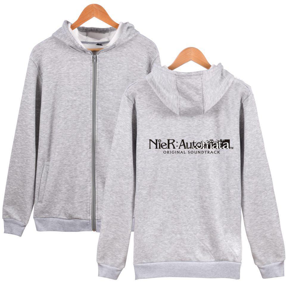 2019 NIER Automata Zipper Hoodies Hommes Femmes Kawaii Japon ARPG jeu Sweat hoodies Zipper haut Homme Femme Sweat-shirt