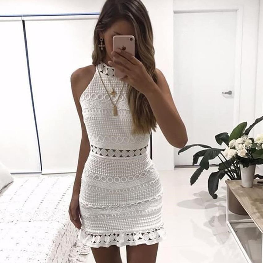 midi vestido blanco nueva primavera corta partido hueco ocasional vestidos vestido de noche hueco hacia fuera vestido de encaje sin mangas de las mujeres del estilo de la moda-elegante