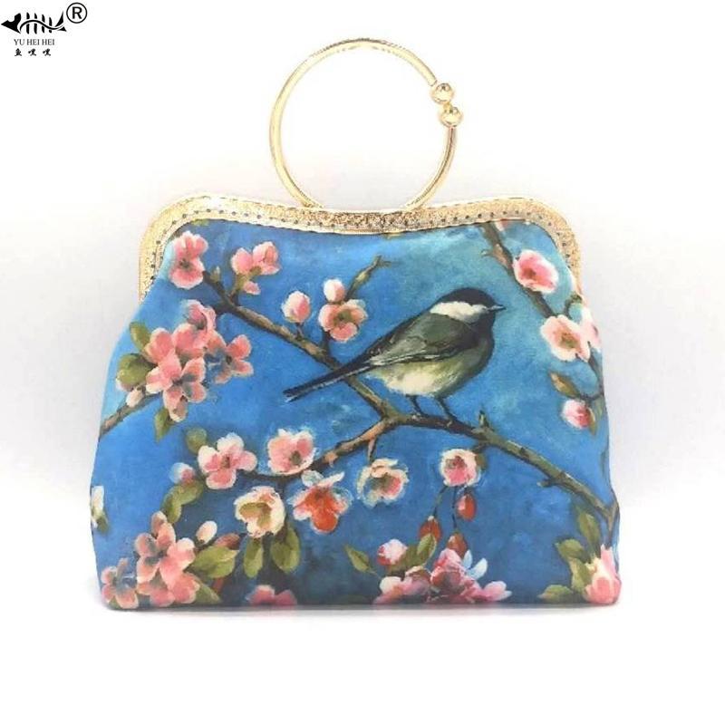 패션 빈티지 가방 여성 레이디 체인 숄더 크로스 바디 백 여성 핸드백 회화 인쇄 새 꽃 키스 잠금 쉘 가방