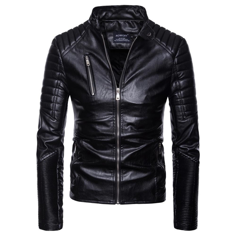 남성 가죽 가을 겨울 캐주얼 긴 소매 솔리드 스탠드 오토바이 가죽 코트 최고 아시아 크기 S-2XL