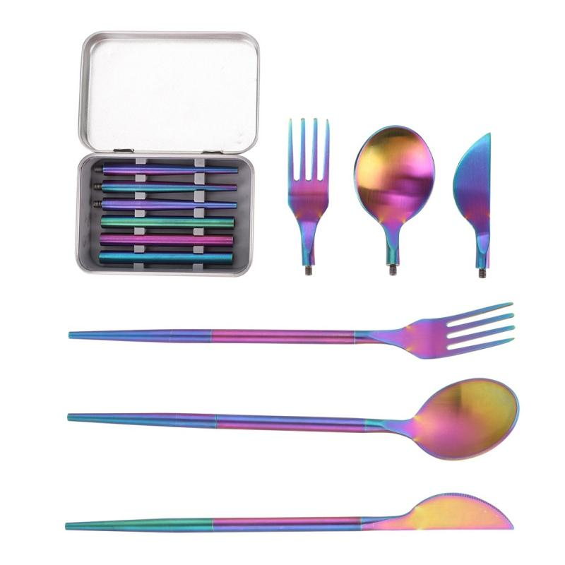 3-in-1 Stainless Steel Dinnerware Set Pocket Size Foldable Reusable Metal Cutlery Spoon Fork Set For Travel Outdoor Picnic BBQ