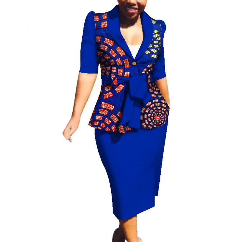 Весна Африканские Наборы Юбки Для Женщин Dashiki 2 Шт. Наборы ЮбкиДля Женщин Плюс Размер Африканский Топ Одежда С Юбкой WY3749