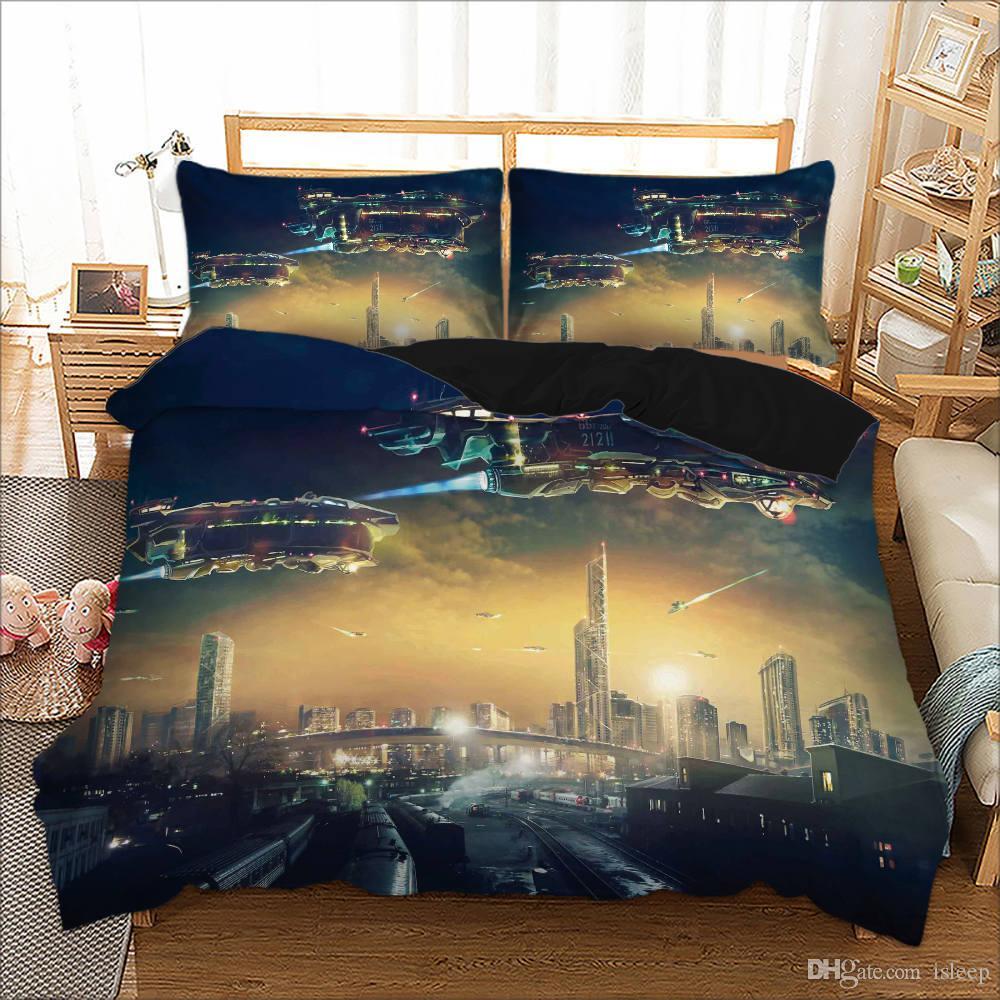 Ensemble de literie 2/3 Pcs de série 3D avec vaisseau spatial et taie d'oreiller pour lit double, grand roi, toutes les tailles