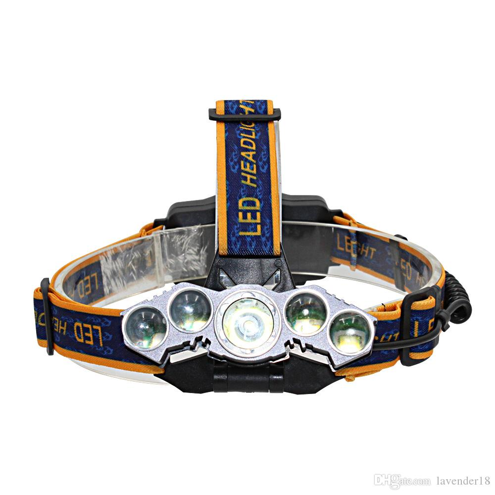 High Quality USB Rechargeable 5 LED Zoomable Headlight XM-L2*1/XPE- T6*4 LED Headlamp With18650 Battery 6000LM LED Bicycle Head Light
