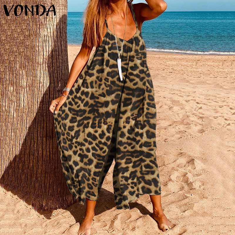Bayan Tulum 2020 Vonda Yaz Kolsuz Gevşek Tulum Artı Boyutu Vintage Leopar Baskılı Playsuits Femme Geniş Bacak Pantolon