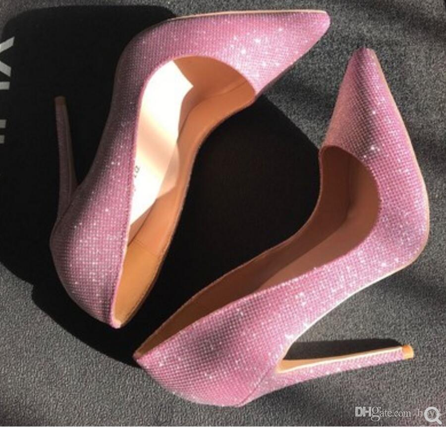 Nuevo estilo de lentejuelas rosadas. Cusp. Zapatos de tacón alto para mujer. Zapato delgado de tacón delgado y poco profundo. 2019 8 cm 12 cm 10 cm gran tamaño 44 fiesta en la discoteca