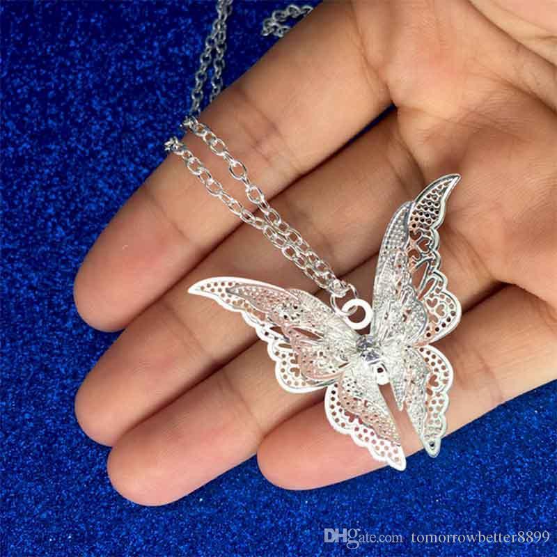 Argento placcato farfalla della cavità della collana di cristallo farfalla i pendenti con catena gioielli di moda