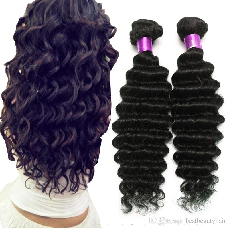 On Sale 8A Brazilian Deep Wave Virgin Human Hair Extensions Natural Black 8-32 Inches 4Bundles Brazilian Virgin Hair Deep Wave Hair Wefts