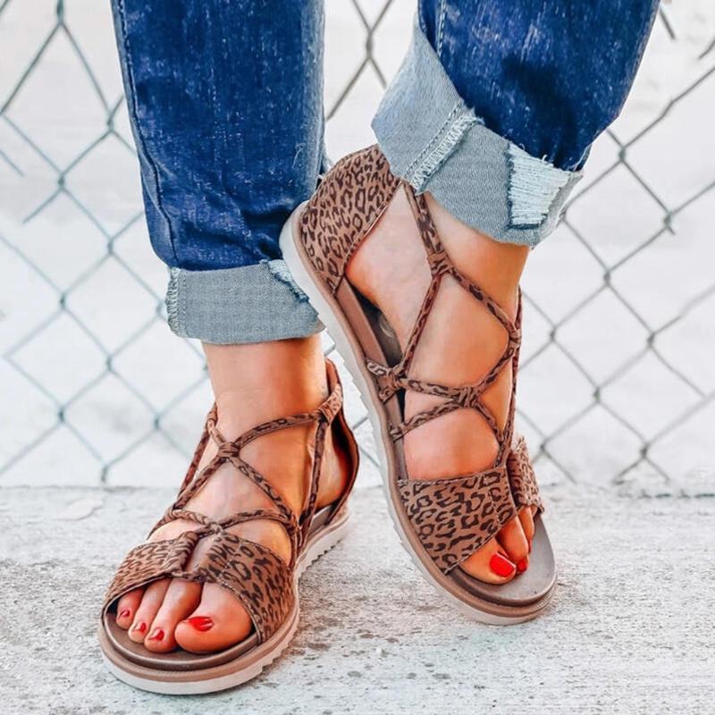 2020 Женские Сандалии Леопардовый Принт Летняя Мода Женская Повседневная Обувь Плоский Женский Пляж Открытый Носок Дышащие Сандалии Mujer 2020