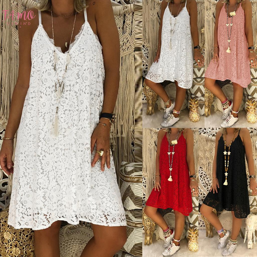 2020 New Arrival Solid Color Sleeveless Womens Sleeveless Solid Casual V Neck Dress Loose Plus Size Lace Dress S 5Xl