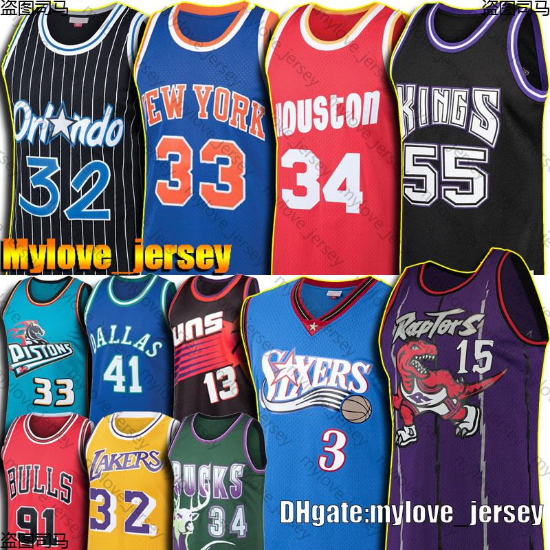 Vintage Allen 3 Iverson Jersey Vince 15 Carter Jerseys Jason 55 Williams Patrick 33 Ewing Nash ONeal Rodman Grant 33 Hill Olajuwon Jerseys
