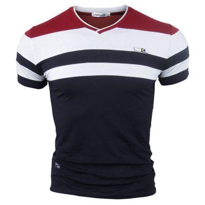 Roupa Plus Size UE M-4XL dos homens Tees Polos Stripe Verão Camiseta Homens Casual manga curta camiseta masculina Moda Simples Top T dos homens