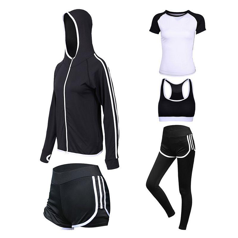 Women Running Sets Quick Dry Gym Fitness Clothes Yoga 5Pcs Set Running Sportwear Jogging Workout Yoga Leggings Sport Suit