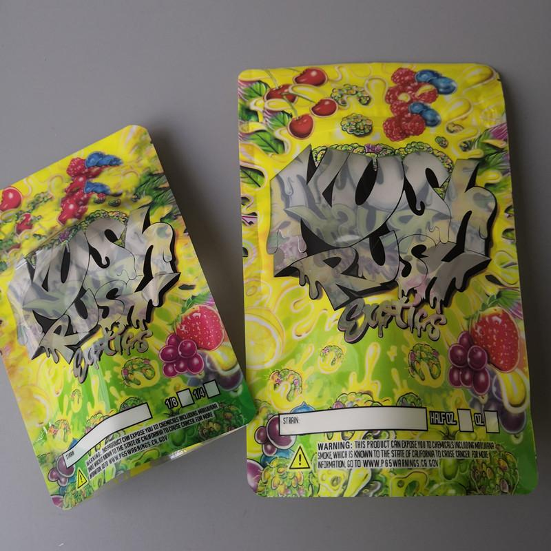 KUSH RUSH Mylar bag 3.5-7g Empty Runtz Bags Smellproof