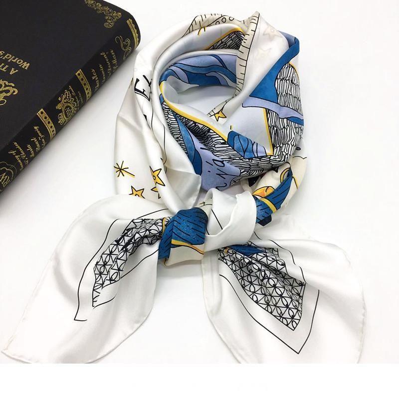 Совершенно новый дизайн женский квадратный дизайнерский шарф 100% саржа шелковый материал хорошее качество белый цвет мода солнце женщины размер 110c