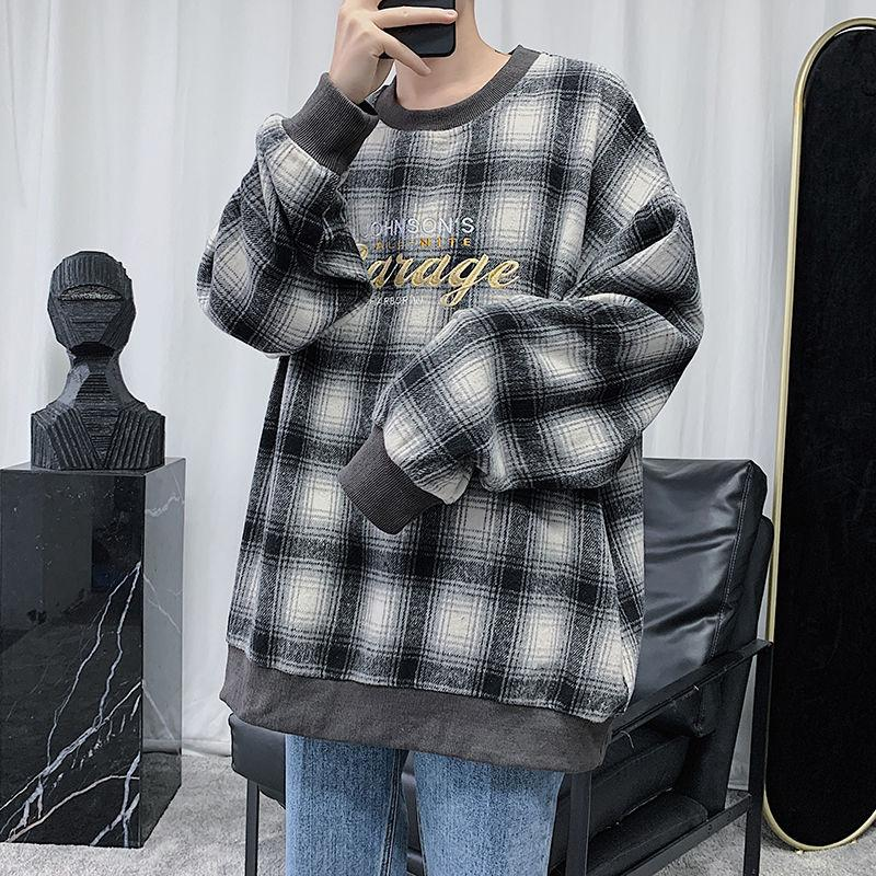 2020 Spring And Autumn New Youth Plaid Round Neck Loose Sweatshirt Fashion عادي Letter Sweatter Black / Khaki