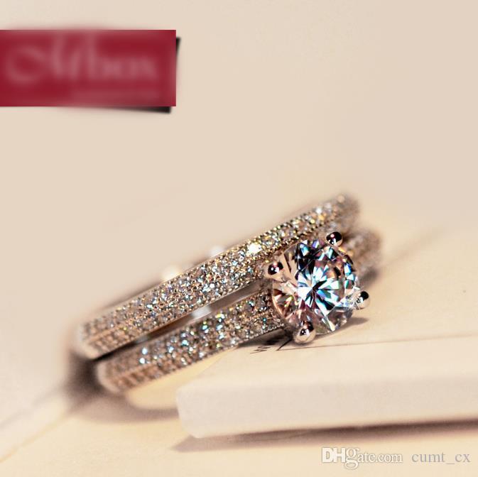 Feminino Branco Nupcial Wedding Ring Set Moda 925 de Prata Cheia Jóias Promessa CZ Pedra Anéis de Noivado Para As Mulheres